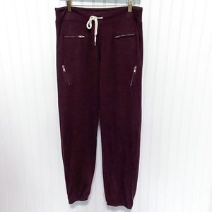 Monrow Maroon ZIp Pocket Sweatpants Jogger Pants